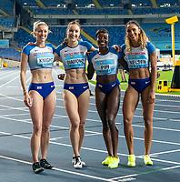 2nd May 2021; Silesian Stadium, Chorzow, Poland; World Athletics Relays 2021. Day 2; British women's 4 x 400 team photo including Jessie Knight, Emily Diamond, Ami Pipi and Laviai Nielsen after winning bronze