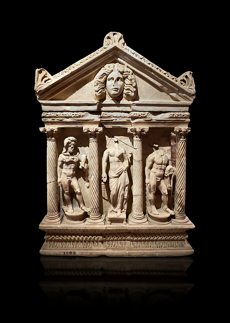 """Roman Herakles (Hercules)  relief sculptured sarcophagus, 2nd century AD, Perge, inv 928. it is from the group of tombs classified as. """"Columned Sarcophagi of Asia Minor"""".  Antalya Archaeology Museum, Turkey. Against a black background."""