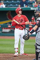 Springfield Cardinals Nolan Gorman (26) bats during a game against the Arkansas Travelers on June 8, 2021 at Hammons Field in Springfield, Missouri.  (Travis Berg/Four Seam Images)