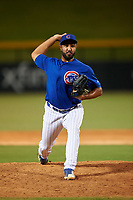 AZL Cubs 1 relief pitcher Emilio Ferrebus (41) during an Arizona League game against the AZL D-backs on July 25, 2019 at Sloan Park in Mesa, Arizona. The AZL D-backs defeated the AZL Cubs 1 3-2. (Zachary Lucy/Four Seam Images)