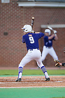 Chris Clare (9) of the High Point Panthers at bat against the Davidson Wildcats at Willard Stadium on March 24, 2015 in High Point, North Carolina.  The Panthers defeated the Wildcats 15-2.  (Brian Westerholt/Four Seam Images)