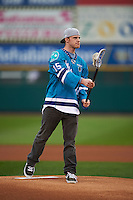 Rochester Knighthawks forward Joe Resetarits (15) first pitch before a game between the Lehigh Valley IronPigs and Rochester Red Wings on May 15, 2015 at Frontier Field in Rochester, New York.  Rochester defeated Lehigh Valley 5-4.  (Mike Janes/Four Seam Images)