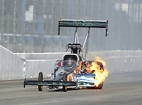 Feb 11, 2017; Pomona, CA, USA; NHRA top fuel driver Terry Haddock has an engine fire during qualifying for the Winternationals at Auto Club Raceway at Pomona. Mandatory Credit: Mark J. Rebilas-USA TODAY Sports