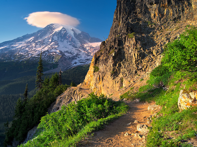 Path and Mt. Rainier with lenticular cloud. Mt. Rainier National Park, Washington