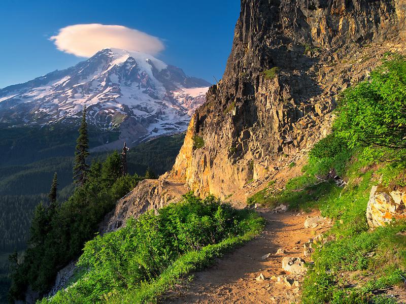 Path and Mt. Rainier with lenticular cloud. Mt. Rainier National Park, Washington