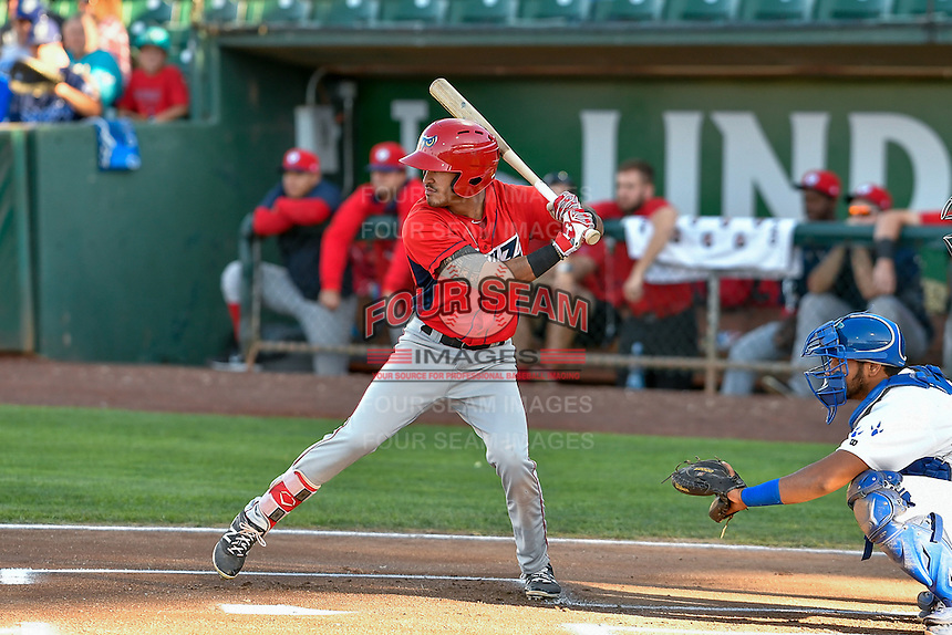 L.J. Kalawaia (5) of the Orem Owlz at bat against the Ogden Raptors in Pioneer League action at Lindquist Field on September 9, 2016 in Ogden, Utah. This was Game 1 of the Southern Division playoff. Orem defeated Ogden 6-5. (Stephen Smith/Four Seam Images)