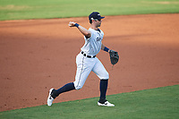 Lakeland Flying Tigers third baseman Zac Shepherd (18) throws to first base during a Florida State League game against the Palm Beach Cardinals on April 17, 2019 at Publix Field at Joker Marchant Stadium in Lakeland, Florida.  Lakeland defeated Palm Beach 1-0.  (Mike Janes/Four Seam Images)