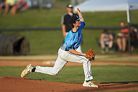 Dry Pond Blue Sox starting pitcher Garrett Lynch (7) (Hopewell HS) delivers a pitch to the plate against the Mooresville Spinners at Moor Park on July 2, 2020 in Mooresville, NC.  The Spinners defeated the Blue Sox 9-4. (Brian Westerholt/Four Seam Images)