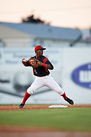 Batavia Muckdogs second baseman Samuel Castro (5) throws to first base during a game against the Mahoning Valley Scrappers on August 16, 2017 at Dwyer Stadium in Batavia, New York.  Batavia defeated Mahoning Valley 10-6.  (Mike Janes/Four Seam Images)