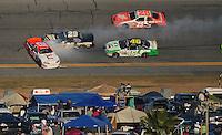 Feb 7, 2009; Daytona Beach, FL, USA; ARCA RE/MAX Series driver Mario Gosselin (12) spins during the Lucas Oil Slick Mist 200 at Daytona International Speedway. Mandatory Credit: Mark J. Rebilas-