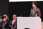 February 2, 2020, Tokyo, Japan - Japan's Tokyo Olympics and Paralympics Minister Seiko Hashimoto delivers a speech (R) while Tokyo Governor Yuriko Koike (L) looks on at the opening ceremony for the Ariake Arena in Tokyo on Sunday, February 2, 2020. Ariake Arena, 15,000 seats multiple purpose hall will be used for Olympic volleyball and Paralympic wheelchair basketball events.    (Photo by Yoshio Tsunoda/AFLO)