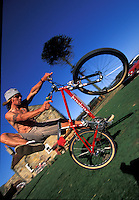 Jason McRoy riding Specialized bike  at Pete Tomkins house for Dirt Video cover.  Raw,  North Yorkshire  1995.pic © Steve Behr/Stockfile.info@stockfile.co.uk