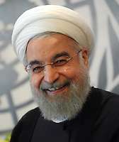NEW YORK, NY - SEPTEMBER 26: The President of Iran Mr. Hassan Rouhani attends the United Nations General Assembly at the United Nations on September 26, 2015 in New York City.<br /> <br /> <br /> People:  President of Iran Mr. Hassan Rouhani