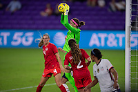 ORLANDO CITY, FL - FEBRUARY 18: Stephanie Labbé #1 makes a save during a game between Canada and USWNT at Exploria stadium on February 18, 2021 in Orlando City, Florida.