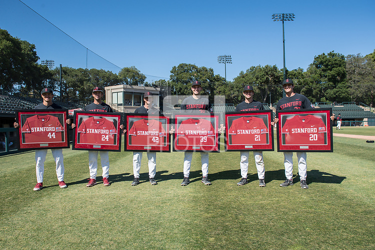 STANFORD, CA - MAY 29: Christian Robinson, Nick Brueser, Austin Weiermiller, Jacob Palisch, Tim Tawa, Brendan Beck after a game between Oregon State University and Stanford Baseball at Sunken Diamond on May 29, 2021 in Stanford, California.