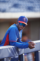 AZL Rangers Keithron Moss (3) before an Arizona League game against the AZL Brewers Blue on July 11, 2019 at American Family Fields of Phoenix in Phoenix, Arizona. The AZL Rangers defeated the AZL Brewers Blue 5-2. (Zachary Lucy/Four Seam Images)