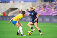 ORLANDO CITY, FL - FEBRUARY 21: Lindsey Horan #9 of the USWNT dribbles the ball during a game between Brazil and USWNT at Exploria Stadium on February 21, 2021 in Orlando City, Florida.