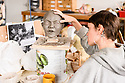 """London, UK. 01.05.2019. Fiona Clift, of Blind Summit puppet theatre company, in their studio in North London, creating puppets for """"Peter and the Wolf"""", which will be performed on August 20th 2019, in the Hollywood Bowl, L.A. Photograph © Jane Hobson."""