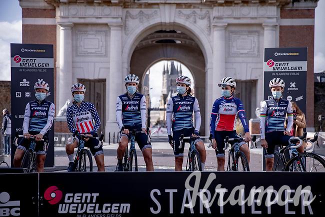 Team Trek-Segafredo at the pre race team presentation<br /> <br /> 9th Gent-Wevelgem in Flanders Fields 2020<br /> Elite Womens Race (1.WWT)<br /> <br /> One Day Race from Ypres (Ieper) to Wevelgem 141km<br /> <br /> ©kramon
