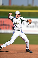 USF Bulls third baseman Zac Gilcrease (16) throws to first during a game against the Alabama State Hornets on February 15, 2015 at Bright House Field in Clearwater, Florida.  USF defeated Alabama State 12-4.  (Mike Janes/Four Seam Images)
