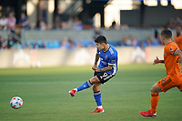 SAN JOSE, CA - JULY 24: Javier Lopez #9 of the San Jose Earthquakes plays the ball during a game between Houston Dynamo and San Jose Earthquakes at PayPal Park on July 24, 2021 in San Jose, California.