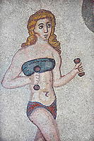 Mosaic detail fron the Room of the Ten Bikini Girls, room no 30, from the Ambulatory of The Great Hunt, room no 28,  at the Villa Romana del Casale which containis the richest, largest and most complex collection of Roman mosaics in the world. Constructed in the first quarter of the 4th century AD. Sicily, Italy. A UNESCO World Heritage Site.