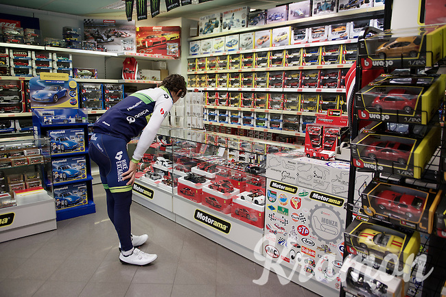 Michael Matthews (AUS/Orica-GreenEDGE) ends up in the Monza F1 souvenir shop (checking out a Ferrari?) while on a training/coffee ride with Team Orica-GreenEDGE 1 day before Milan-San Remo