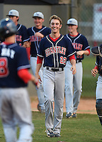 Lake Brantley Patriots first baseman Paxton Rigby (22) during a game against the Lake Mary Rams on April 2, 2015 at Allen Tuttle Field in Lake Mary, Florida.  Lake Brantley defeated Lake Mary 10-5.  (Mike Janes/Four Seam Images)