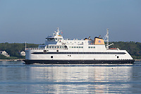 A Steamship Authority ferry passes through Vineyard Haven Harbor on Martha's Vineyard headed for the ferry terminal at Vineyard Haven.