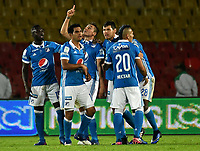 BOGOTA - COLOMBIA - 09 – 05 - 2017: Los jugadores de Millonarios, celebran el primer gol anotado Cortulua, durante partido de la fecha 17 entre Millonarios y Cortulua,  por la Liga Aguila I-2017, jugado en el estadio Nemesio Camacho El Campin de la ciudad de Bogota. / The players of Millonarios celebrate the first scored goal to Cortulua,  during a match of the date 17th between Millonarios and Cortulua, for the Liga Aguila I-2017 played at the Nemesio Camacho El Campin Stadium in Bogota city, Photo: VizzorImage / Luis Ramirez / Staff.