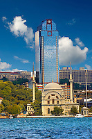 Modern tower block & mosque on the Bosphorus, Istanbul Turkey