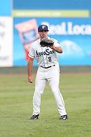 Kody Kerski #8 of the Everett AquaSox during a game against the Boise Hawks at Everett Memorial Stadium on July 22, 2014 in Everett, Washington. Everett defeated Boise, 6-0. (Larry Goren/Four Seam Images)