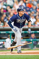 Evan Longoria (3) of the Tampa Bay Rays starts down the first base line during the Major League Baseball game Detroit Tigers at Comerica Park on June 4, 2013 in Detroit, Michigan.  The Tigers defeated the Rays 10-1.  Brian Westerholt/Four Seam Images