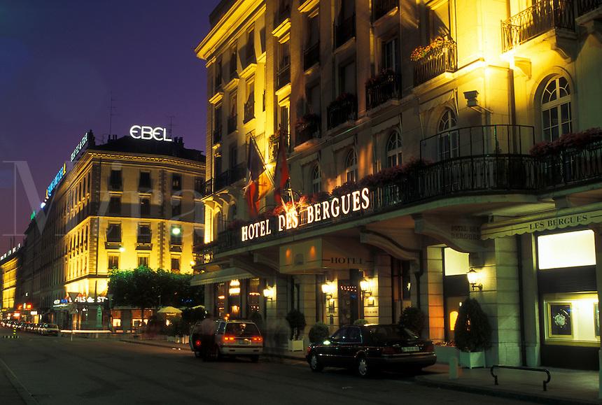 hotel, Geneva, Switzerland, Hotel des Bergues in downtown Geneva at night.