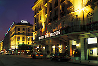 hotel, Geneva, Switzerland, Hotel des Bergues in downtown Geneva at night.