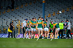 The Kerry team during a water break at the Munster Football Championship game between Kerry and Clare at Fitzgerald Stadium, Killarney on Saturday.