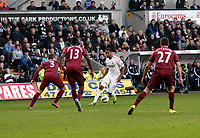 Pictured: Swansea's Luke Moore came off the bench and scored the only goal of the game<br />