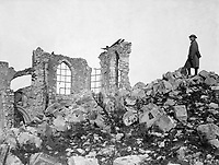 American advance northwest of Verdun.  The runied church on the crest of the captured height of Montfaucon.  This was the condition of the site after the Americans finally drove the Germans out from it.  France, 1918.  (Army)<br /> EXACT DATE SHOT UNKNOWN<br /> NARA FILE #:  111-SC-23669<br /> WAR & CONFLICT BOOK #:  697