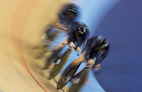 03 AUG 2012 - LONDON, GBR - The team from New Zealand (NZL) race against the clock during the women's Team Pursuit qualifying round at the London 2012 Olympic Games in the Olympic Park Velodrome in Stratford, London, Great Britain .(PHOTO (C) 2012 NIGEL FARROW)