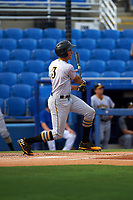Bradenton Marauders shortstop Cole Tucker (3) follows through on a swing during a game against the Dunedin Blue Jays on July 17, 2017 at Florida Auto Exchange Stadium in Dunedin, Florida.  Bradenton defeated Dunedin 7-5.  (Mike Janes/Four Seam Images)