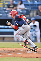 Hagerstown Suns catcher Jackson Reetz (21) starts down the first base line during a game against the Asheville Tourists at McCormick Field on April 27, 2016 in Asheville, North Carolina. The Tourists defeated the Suns 14-7. (Tony Farlow/Four Seam Images)