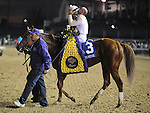 Drosselmeyer, ridden by jockey Mike Smith and trained by Bill Mott win the Breeders' Cup Classic at Churchill Downs on  November 4, 2011..
