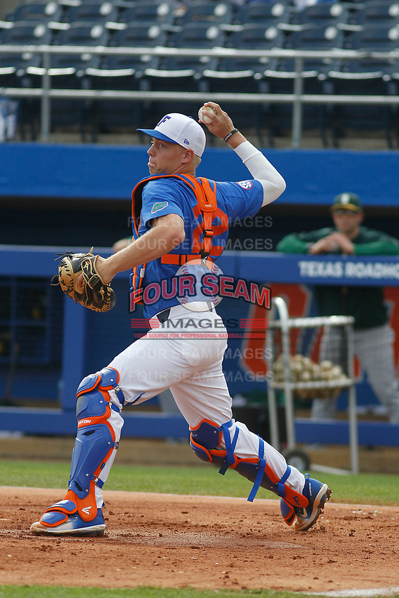 University of Florida Gators catcher JJ Schwarz (22) before a game against the Siena Saints at Alfred A. McKethan Stadium in Gainesville, Florida on February 17, 2018. Florida defeated Siena 10-2. (Robert Gurganus/Four Seam Images)