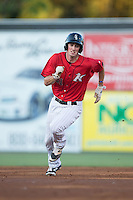 Cody Daily (31) of the Kannapolis Intimidators hustles towards third base against the Hagerstown Suns at Kannapolis Intimidators Stadium on May 4, 2016 in Kannapolis, North Carolina.  The Intimidators defeated the Suns 7-4.  (Brian Westerholt/Four Seam Images)