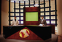 Belgium 1996.In the studio of MED-TV, the kurdish television, the news.Belgique 1996.Sur le plateau de MED-TV, la television kurde, presentation du journal televise