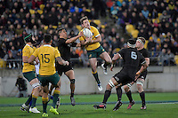 Wallabies' Bernard Foley in action during the All Blacks v Wallabies. The Rugby Championship & Bledisloe Cup at Westpac Stadium, Wellington, New Zealand on Saturday 27 August 2016.<br /> Photo by Masanori Udagawa. <br /> www.photowellington.photoshelter.com.