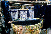Blue tie dye art and Batik work in Lijang China