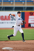 Lake County Captains third baseman Nolan Jones (10) throws to first base during the first game of a doubleheader against the South Bend Cubs on May 16, 2018 at Classic Park in Eastlake, Ohio.  South Bend defeated Lake County 6-4 in twelve innings.  (Mike Janes/Four Seam Images)