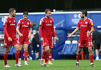 Séamus Conneely of Accrington Stanley, Mark Hughes of Accrington Stanley and Matt Butcher of Accrington Stanley talking after the match during AFC Wimbledon vs Accrington Stanley, Sky Bet EFL League 1 Football at The Kiyan Prince Foundation Stadium on 3rd October 2020