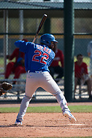Chicago Cubs right fielder Jonathan Sierra (22) during a Minor League Spring Training game against the Los Angeles Angels at Sloan Park on March 20, 2018 in Mesa, Arizona. (Zachary Lucy/Four Seam Images)